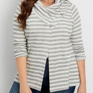 Maurices striped asymmetrical cardigan cowl neck